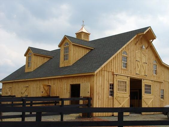 Barns stables and dream barn on pinterest for Prefab barns with living quarters