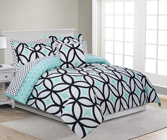 Just Home Patricia Mint Green Black Queen 8 Piece Reversible