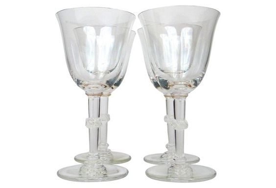 Lalique Beaugency Wine Glasses,      S/4