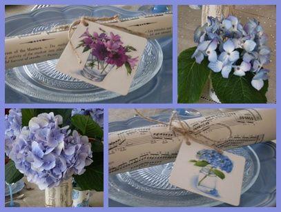 table aux hortensias