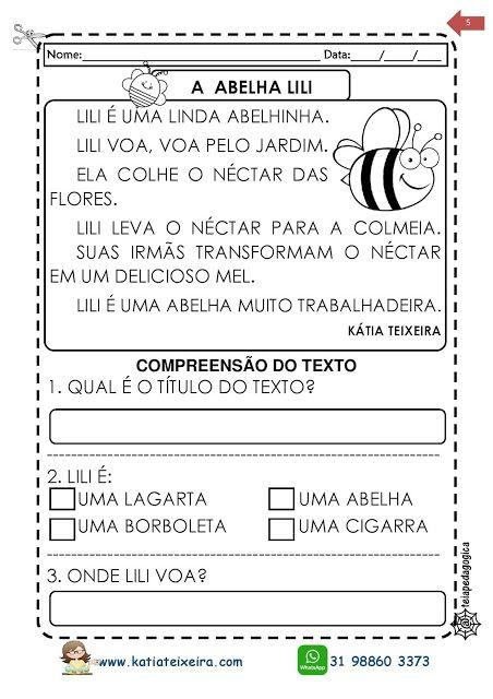Texto A Abelha Lili 1º E 2º Anos Com Interpretacao Atividades De