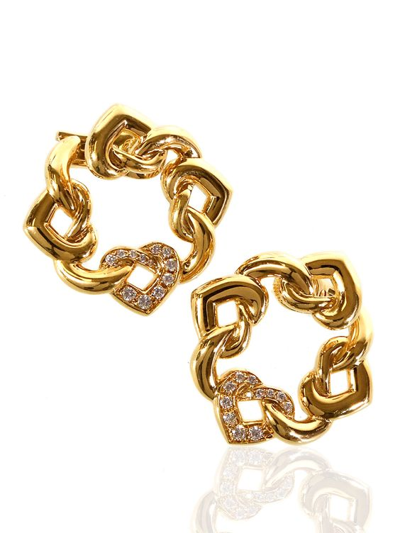 Bulgari Dopio Cuore Diamond Earrings in 18k Yellow Gold