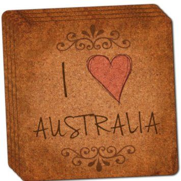 """Custom & Cool {4"""" Inches} Set Pack of 4 Square """"Grip Texture"""" Drink Cup Coaster Made of Cork w/ Cork Bottom & Travel Souvenir House Decor I Heart Love Australia Design [Brown, Black & Red Colors]"""