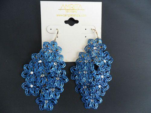 Blue Crystal Flower Earrings by Amrita Singh.  £19.98