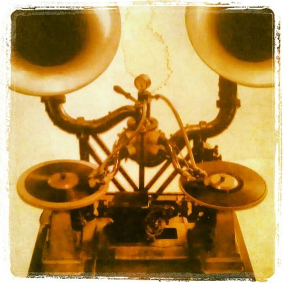 The first DJ booth setup 1910 by French engineer Leon Gaumont. Quite the steam punk look I'd say; )