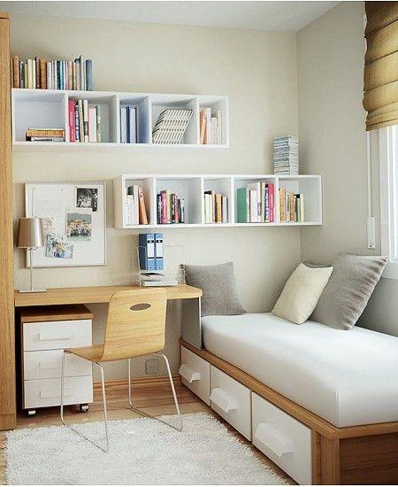 La distribución de los muebles en forma de L es la solución ideal para aprovechar  al máximo el espacio en dormitorios juveniles con pocos metros.