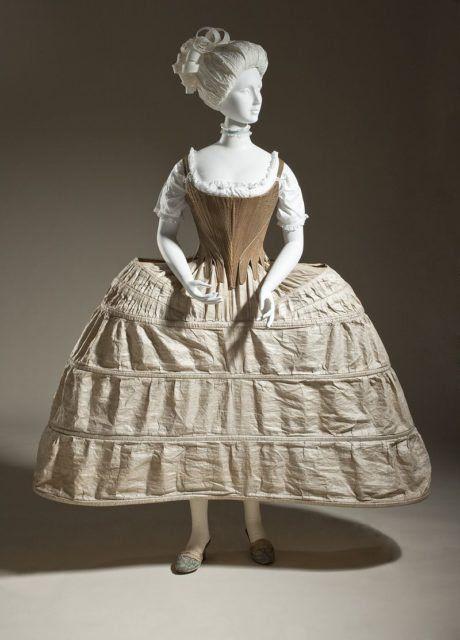 Hoop petticoat or pannier, English, 1750-80.