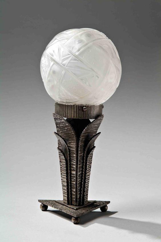 Linossier claudius edgar brandt 1880 1960 et muller petite lampe en fer forg art - Lampe fer forge ...