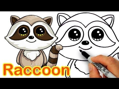 How To Draw A Cartoon Raccoon Cute And Easy Step By Step Cute Drawings Cute Disney Drawings Kawaii Drawings
