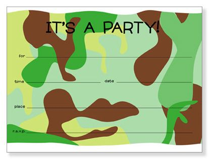 Free Printable Camouflage Birthday Invitations