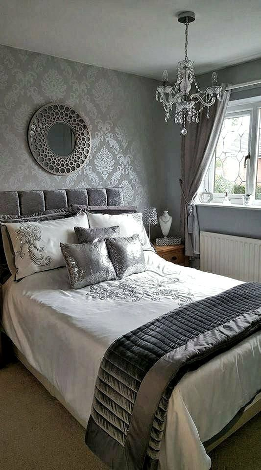 30 Grey Bedroom Inspirations Feature Wall Bedroom Grey Wallpaper Bedroom Silver Wallpaper Bedroom