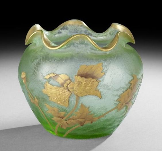 Large Mont Joye, France, Cameo-Cut, Acid-Etched and Gilded Glass Vase, ca. 1900
