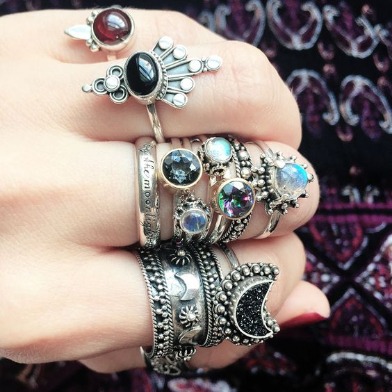 That fierce stack, perfect for heating up the winter evenings. ✦☾☾ www.shopdixi.com ☽☽ ✦ // shop dixi // bohemian jewellery // boho // grunge // hippie // pendant // dark // balance // gothic // mystic // gypsy jewels // silver