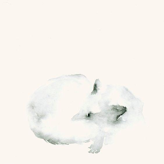 Schneefuchs Kunstdruck nach Original Aquarell von dearcatherina
