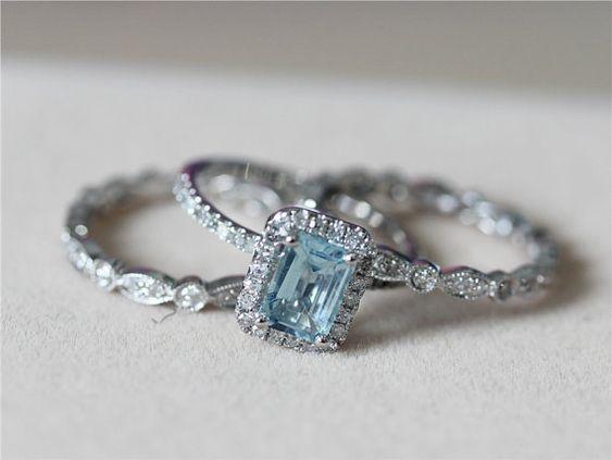 5x7mm Blue Aquamarine Ring w/ Matching Band Wedding Set 14K White Gold Ring Diamond Engagement Ring Wedding Ring -3 Rings Set