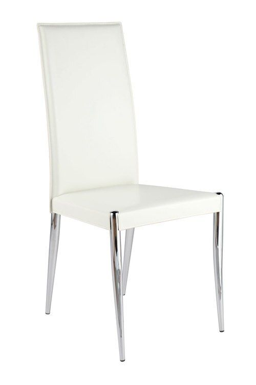 Rosina Side Chair Set Of 4 White Leather Chrome By Euro Style In 2020 Dining Room Chairs Modern Modern Dining Chairs Leather Dining Chairs