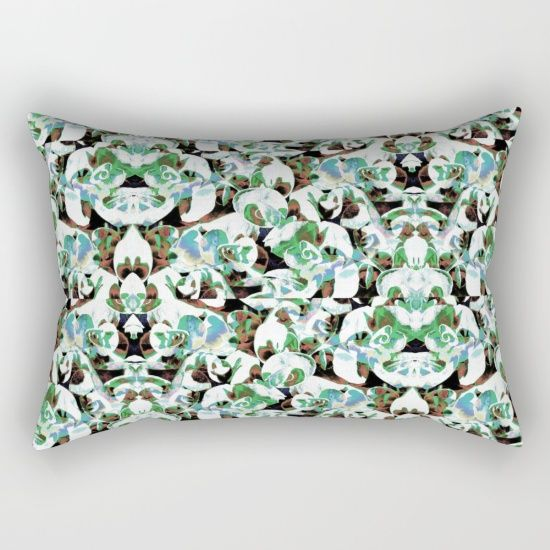 Aztec Floral Pattern Rectangular Pillow by ARTbyJWP - $27.00