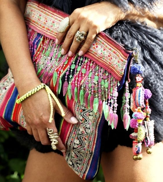Kasia - ethnic hippie bag and snake ring