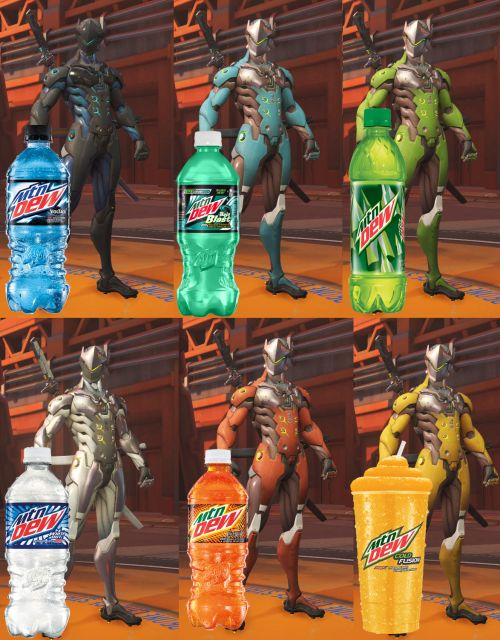 Genji and D.VA have the Mountain Dew drink skin colors for a ...