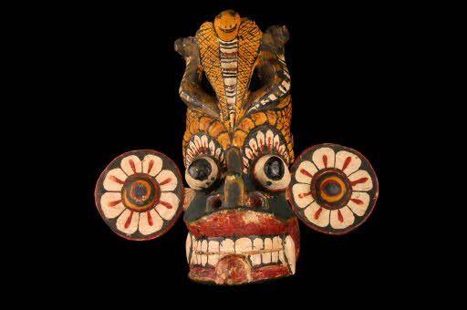 Masque d'exorcisme à l'éffigie du démon Kiri Gara bois peint rukatana