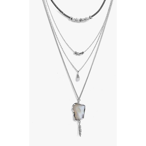 Boohoo Annie Crystal Pendant Layered Necklace ($10) ❤ liked on Polyvore featuring jewelry, necklaces, silver, crystal jewelry, pendant jewelry, chunky chain necklaces, crystal ear cuff and stacked necklaces