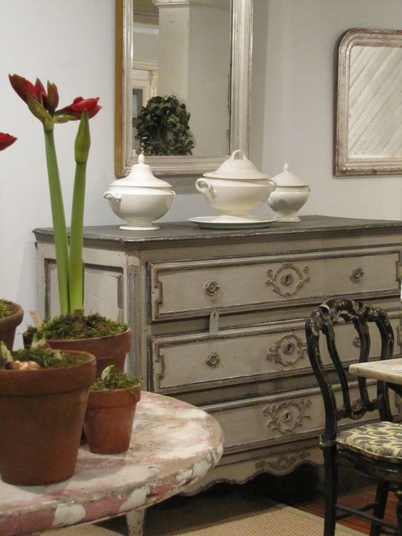 Antique furniture at Red Chair - hudson,ny. French Farmhouse White Decorating Ideas.