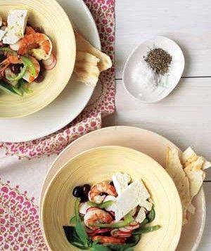Marinated Shrimp With Mediterranean Salad
