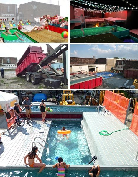"Not exactly a shipping container, however...  ""Dumpster diving takes on an entirely new meaning in this incredible urban swimming pool project in Brooklyn, New York, in which a few days was all that was needed to transform a set of dumpsters into useful public swimming spaces."""