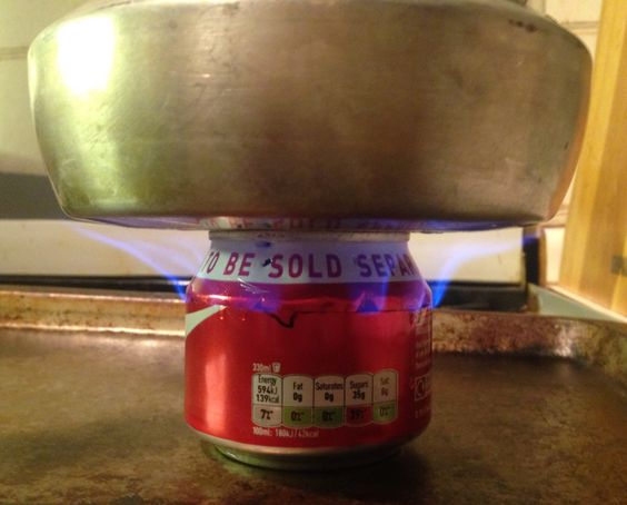 Coke can stove/burner Mk2 (scalloped & crimped sides) Much better, with no pot stand needed.