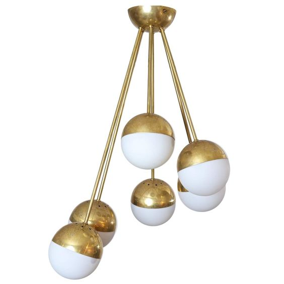Brass Sputnik Chandelier: Brass and Opaline Shades Sputnik Chandelier | From a unique collection of  antique and modern chandeliers,Lighting