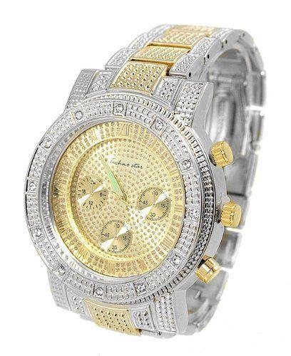 Big 2-tone Mens Hiphop Watch Textured Cz 51mm Case Metal Link Bracelet Men Wrist Watches. $32.50. Stainless Steel Back. Big 2-tone Mens Hiphop Watch Textured Cz 51mm Case Metal Link Bracelet