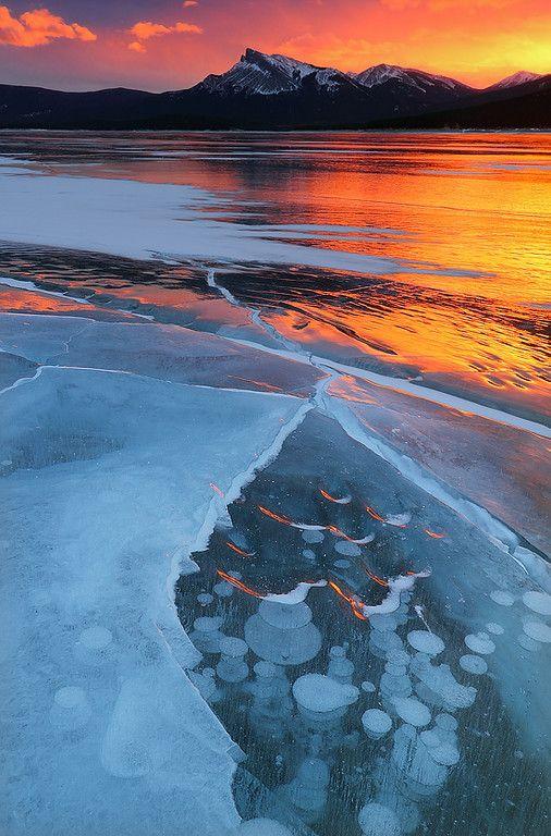 Frozen Abraham Lake in Alberta, Canada