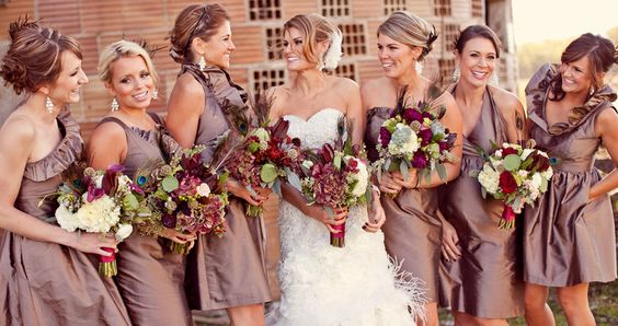Mismatched tan or taupe brown bridesmaid dresses with some darker ...