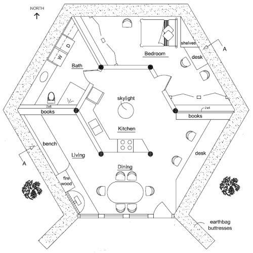 Earthbag Lodge Footprints Bath And Bedrooms - Building earthbag house plans free