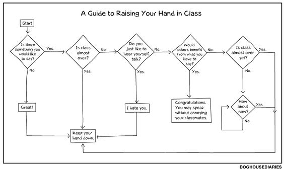 The rules of raising your hand in class!