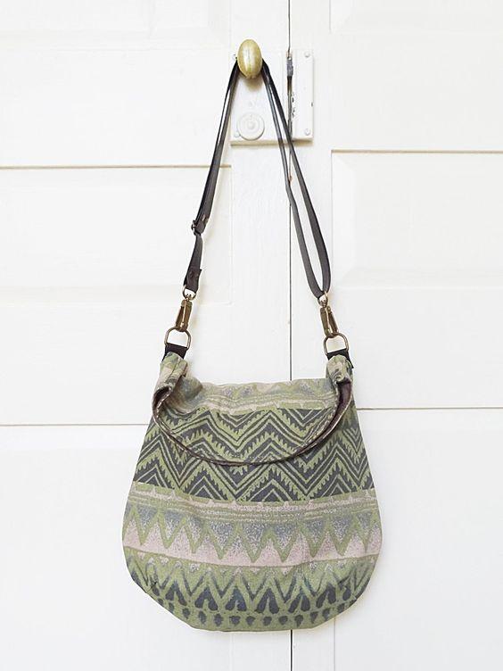 Vegan Messenger Bag  Green Navajo Upholstery    by bagswithhistory, $59.00