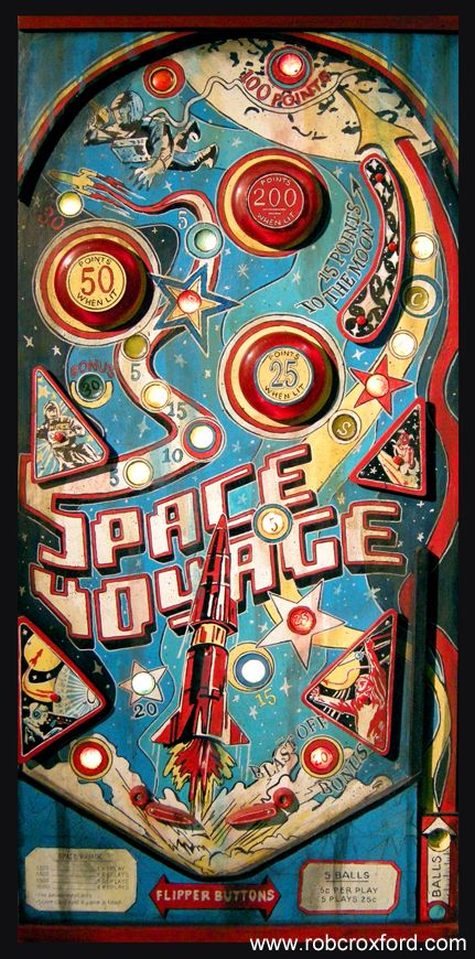 """A pinball machine completely made from recycled materials!!! """"Space Voyage"""" is one of many acrylic on mixed media paintings that I have completed as part of my """"Arcade Series""""!!! (and yes, it lights up!!) It is SOLD!"""