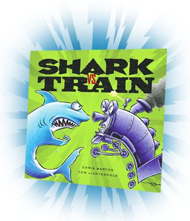 Shark vs. Train: Great mentor text for writing activity. Which two toys would your students like to see battle it out in bizzare situations?