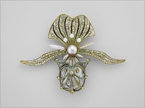 Orchid brooch , 1901. Georges Fouquet (French, 1862–1957). Gold, enamel, diamond, and pearl.: