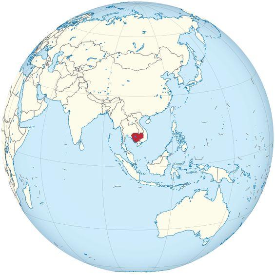 Cambodia on the globe (Cambodia centered) ◆Camboya - Wikipedia http://es.wikipedia.org/wiki/Camboya #Cambodia