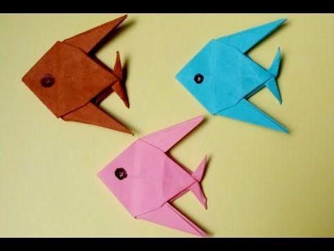 How To Make A Paper Fish For Beginner كيف تصنع سمكة بالورق الملون للمب Paper Fish Origami Tutorial Paper Crafts