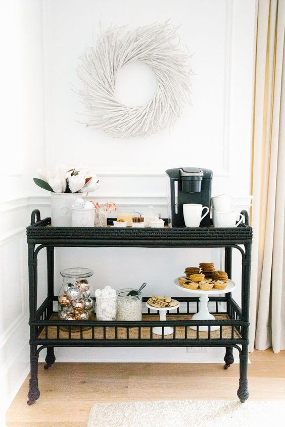 South Seas Bar Cart - Festive - Hallway Inspiration - Holiday Inspiration - Drink Cart - Cocktail via Serena & Lily | Image via Monika Hibbs