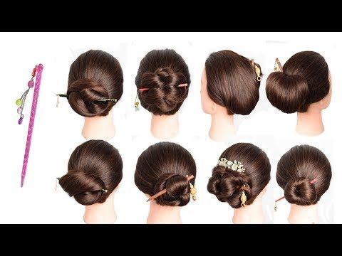 9 Easy And Unique Hairstyles With Bun Stick Cute Hairstyle Chignon Bun Juda Style Hairstyle 2019 Youtube Ponytail Trick Hair Styles Cute Hairstyles