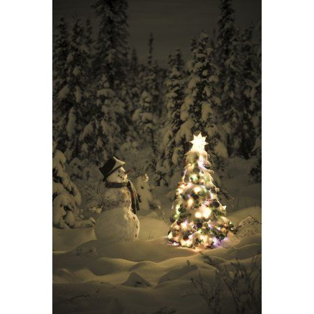 Snowman Stands In A Snowcovered Spruce Forest Next To A Decorated Christmas Tree In Wintertime Canvas Art - Kevin Smith Design Pics (11 x 17)