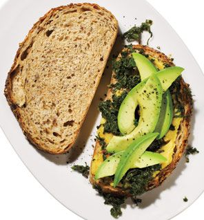 Mark Bittman's Kale Sandwiches With Avocado. But of course I'd skip the cheese. Yummy!!!