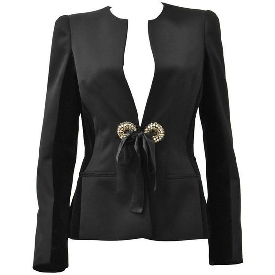 Preowned Alexander Mcqueen Black Jacket With Embellished Details,... ($539) ❤ liked on Polyvore featuring outerwear, jackets, black, alexander mcqueen jacket and alexander mcqueen