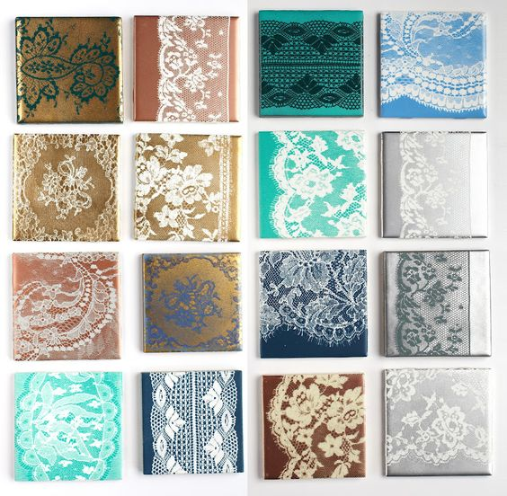Lace Tiles - Lace + Spray Paint = great coasters or wall art!:
