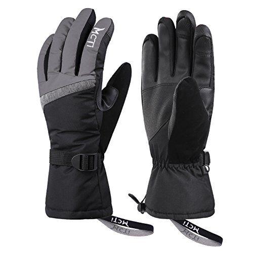 Mcti Ski Gloves Winter Waterproof Snowboard Snow 3m Thinsulate Warm Touchscreen Cold Weather Women Gloves Wrist Band Grey Large Snowboard Eldiven Erkek Giyim