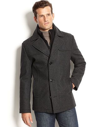 Kenneth Cole Coat Single-Breasted Wool-Blend Peacoat - Mens Coats