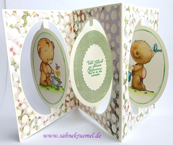 """Accordion card with """"Teddy Best Friends"""" Whimsy Stamps; Designerpaper Studio Light; Card die """"Oval Accordion"""" and dot die Elizabeth Craft Designs; Sentiment WhiffofJoy; colored with TwinklingsH2O // Pop up Birthday Card"""